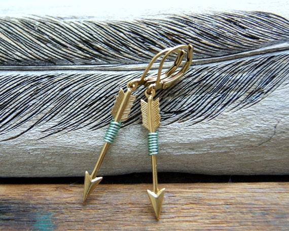 Archery Earrings - mint green wire wrapped brass arrow earrings - boho chic - arrow earrings - arrow jewelry - Sagittarius