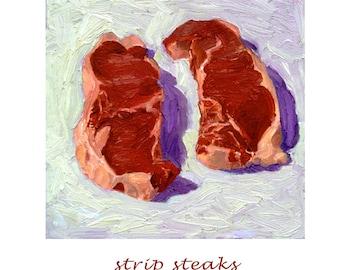 Strip Steaks - archival print of meat painting