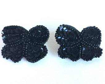 Vintage Black Bow Earrings with Sequins and Seed Beads - Shiny Black Sequined Bows or Butterflies - Lightweight Fun Sparkly 80s Earrings