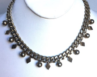 Vintage Silver Chain Necklace with Diamond Shapes and Silver Balls Attached - Heavy Chunky Chain, Short Choker Collar Length, Antique Silver