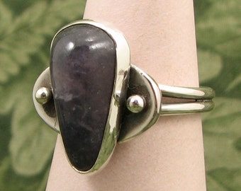 Iolite baroque cabochon Sterling Ring size 8.5 - OOAK
