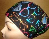 New Colorful Sunglasses on Black Euro Style Medical Surgical Scrub Hat Vet Nurse Chemo