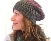 Crochet puff stitch slouch hat gray and plum stripe alpaca acrylic