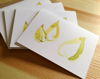 Pear Trio Note Cards - Watercolor Pear Folded Note Cards - Blank Pear Cards - Fruit Note Cards - Box of 8