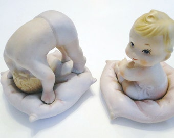 2 Lefton Kewpie Porcelain Bisque Piano Babies 3554 Mint Condition & Rare