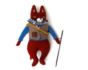 Fox doll- the Explorer wool doll animal plush softie boy