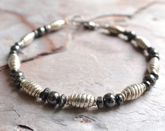 The Lazlo- Silver and Hematite Men's Bracelet