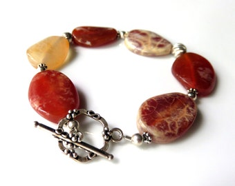 Orange Agate  Gemstone Bracelet, Agate Beaded Bracelet, Bright Color Bracelet with Toggle Clasp, Silver Gemstone Jewelry, Gift for Her