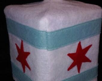 Chicago Flag Tissue Box Cover