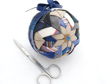 Handmade Quilted Ornament Remade from Mens Plaid Shirt - Folded Fabric in Blues and Tan - Christmas Gift for Him - Recycled Reused Repurpose