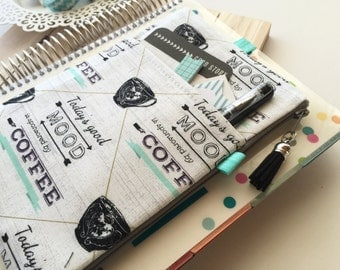 Coffee Lovers print planner band - planner pouch - Gray and Mint planner pen holder pouch - Fits MANY planner types - Coffee Print Bag