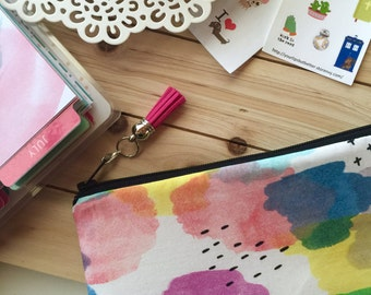 Watercolor print ,  pencil pouch , colorful zipper pouch , pen case , planner pouch , tassel charm pull , school bag