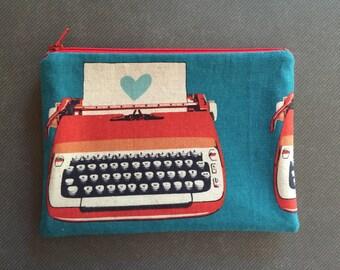 Typewriter - Clutch, Makeup Bag, Zipper Pouch