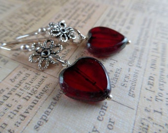 Heart and Sterling Silver Earrings - Version 1