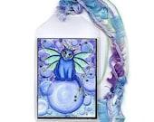 Fairy Cat Bookmark Bubble Kitten Bookmarker Blue Fairy Cat Whimsical Cat Art Mini Bookmark Gift For Cat Lover
