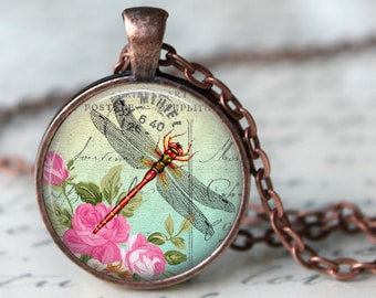 Spring Dragonfly Pendant, Necklace or Key Chain in choice of 4 Bezel Colors - 1 Inch Round