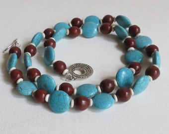 Turquoise Necklace Blue and Brown Stones and White Howlite, Sterling Silver, Smokeylady54