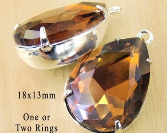Golden SmokyTopaz Glass Beads, Pear or Teardrop, Silver Plated Brass Settings, Rhinestone, Glass Jewels, 18mm x 13mm, Glass Gems, One Pair