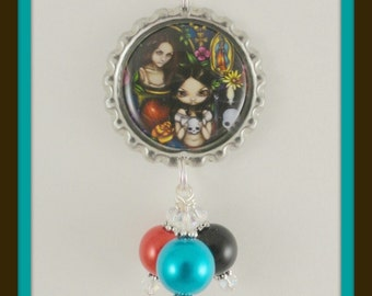 "Jasmine Becket-Griffith "" Dia de los Muertos"" bottle cap necklace"