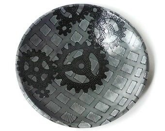 Large Serving Bowl - Mottled Gray with Gears