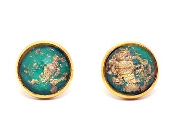 Gold Stud Earrings - Green and Gold Faceted Resin Earrings