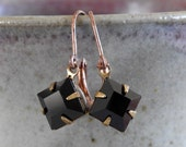 Black Earrings, Jet Black, Copper Earrings, Vintage Glass Charms, Faceted Black, Rhinestone Earrings