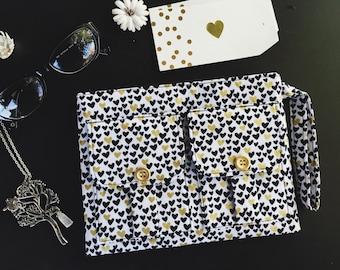 Mini Hearts Metallic Wristlet Wallet, Fabric Wallet, Wallet Wristlet, iPhone Wristlet, Gold Wristlet Purse, Zipper Wallet, Fabric Pouch
