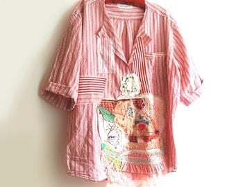 Artist's Shirt, Linen & Cotton, Stripes, Oversized, Recycled, Patched, Appliques, Rustic, Arty, Boho, Embroidery, Large