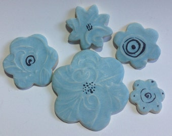 Pastel Baby Blue Floral Mosaic Mix