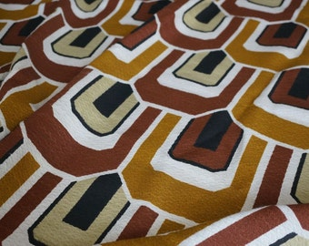 Vintage Upholstery Fabric Midcentury Mod Brown Tan Black Cream Craft Supplies Retro Fabric by the Yard Yardage Sewing Quilting