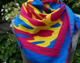 Vintage Lanvin Paris Silk Scarf Italy Birds in Nest Magenta Pink Yellow Cerulean Blue Vintage Scarves and Wraps Twill Gift for Bird Lover