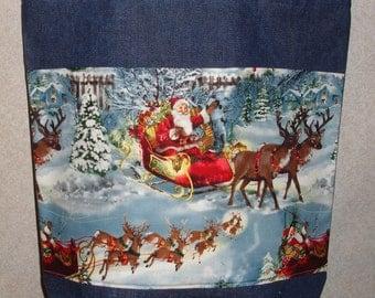 New Handmade Large Santa Sleigh Reindeer in Snow Christmas Denim Tote Bag