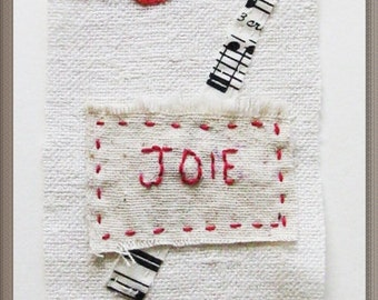 Textile art, mini quilt, stitching, embroidery, minimalist, Joy, Joie, musical notes