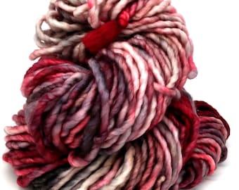 Be Still, My Heart- 76 yds bulky weight yarn, single ply, superwash merino, nylon, ooak, cowl, scarf, gift, knit, crochet, weave