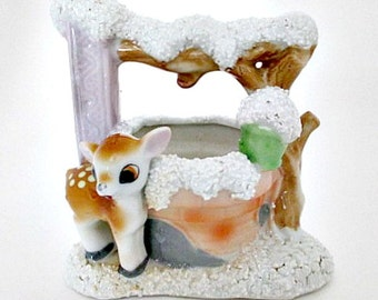 Deer at Wishing Well Vintage Figurine - Deer Fawn Woodland farmhouse Camp Cottage Decor