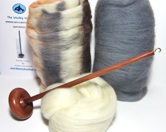 Drop Spindle Spinning Kit Calico Kitty Available in Either Top or Bottom Whorl, Free shipping in USA!