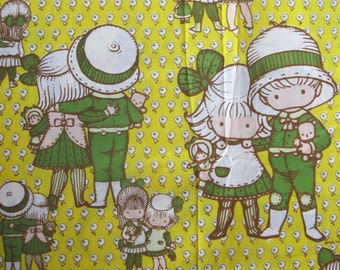 """Vintage 1974 Joan Walsh Anglund FRIENDS Double Size 81"""" x 104"""" FABRIC - Flat Sheet"""