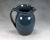 Small Blue Ceramic Pitcher Wheel Thrown Stoneware Pottery 5