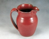 Small Red Ceramic Pitcher Wheel Thrown Stoneware Pottery 3