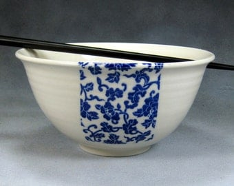 Blue and White Noodle Bowl, Rice Bowl, Soup Bowl, Pho Bowl, Stir Fry Bowl Hand Thrown Translucent Porcelain Pottery 53