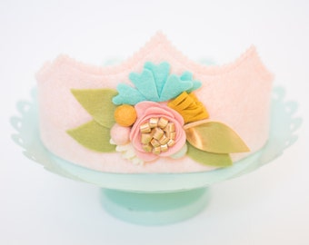 Floral Crown// Blush, GOLD and Teal Flowers// Girls FIRST birthday // Flower CROWN