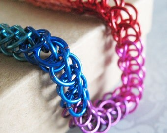 Rainbow Chainmaille Bracelet Half Persian Chain Link Gay Pride Jewelry