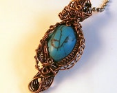 Turquoise & Copper Wire Wrapped Victorian Inspired Pendant