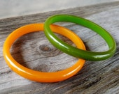 SALE Vintage Bakelite Bangle Bracelet Lot Set of 2 Two yellow and green solid semi translucent