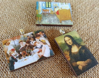 Art Pendant Necklace famous art pendant Mona Lisa ~ Van Gogh Bedroom in Arles ~ Luncheon of the Boating Party Renoir