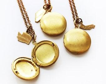 Custom State Charm Locket Necklace in Brass