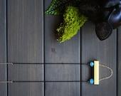 Jeanne Necklace - minimal modern long geometric rectangle square tube aqua black chain