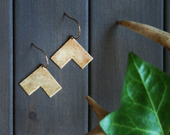 Lori Earrings - chevron modern minimal geometric hammered texture brass gold triangle large big statement brass gold