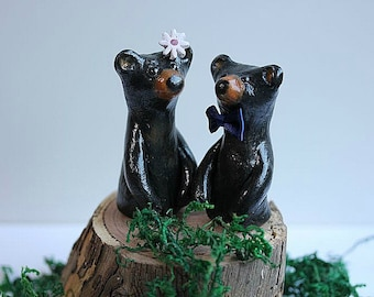Clay Bears Cake Topper - Clay Bears - Woodland Cake Topper - Clay Black Bears - Wedding cake topper Bears- Rustic Wedding Cake Topper