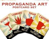 20% OFF Propaganda Postcards - Caffeine Addict, Marijuana Poster, Sweet Tooth, Alcoholic, Vintage Posters, Cannabis Artwork, Coffee Art Prin